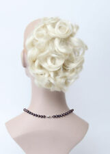 Milky white Short Curly Wavy claw clip ponytail Natural Daily Hair Extensions