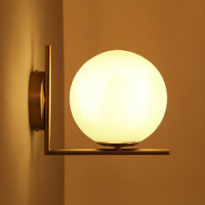 20cm LED White Glass Globe Ball Indoor Wall Lights Brass Sconces Bedroom Lamp