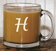 Engraved Custom Coffee Mug With Initial - Personalized Etched Glass For Gift