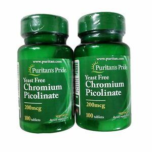 2 Bottle CHROMIUM PICOLINATE 100 Tablet 200 mcg Yeast Free Puritan's Pride 05/24