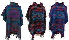 Woolly Poncho Paisley Jumper Aztec Colourful Block Print Roll Turtle Neck Boho
