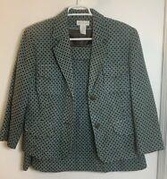 Worthington 2 Pc Suit Jacket Skirt Size 14 Mid Weight Aqua Brown Geometric Print
