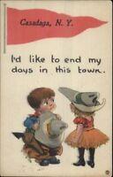 Casadaga NY Comic Pennant Greeting c1910 Postcard