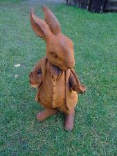 lapin a la pipe en costume , statue, animal en fonte patiné rouillé,  ...