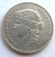 Switzerland 1892(B) Confederation Girl 5 Francs Thaler Silver Coin