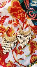GOLD BEADED DROP ETHNIC HIPPY GLAMOROUS  LIGHT CHANDELIER HIPPY BOHO EARRINGS