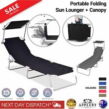 Outdoor Folding Sun Lounge Bed Shade Beach Pool Portable Reclining Chair Canopy