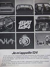 PUBLICITÉ FIAT 124 7 CV FISCAUX 145 KM/H FREINS A DISQUE SUR 4 ROUES 4-5 PORTES
