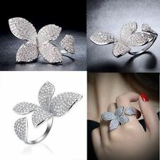 Austrian Crystal Butterfly Coacktail Ring Handmade Adjustable Women Gift R1094
