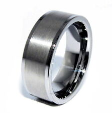 Tungsten Carbide Brushed Center Silver Wedding Band Men's Ring Size 9 M48