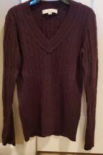 Loft Small Plum V Neck Sweater Wool Angora Blend Cable Knit