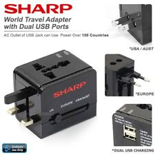 SHARP Dual USB Power Wall Plug Outlet USA AUS EUR UK Universal Travel Adapter