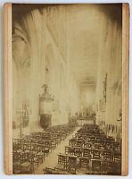 Abbeville Interno La Nef Di Chiesa Saint-Vulfran Vintage Albumina 1880