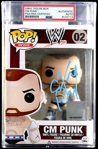 WWE CM PUNK HAND SIGNED ENCAPSULATED FUNKO POP #02 SLABBED PSA DNA COA VERY RARE