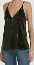 $441 Cami Nyc Women's Black Silk Nova Embellished Crystals Top Camisole Size S