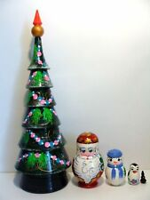 "New Hand Painted 12"" Tall Russian Nesting Doll Christmas Tree Santa Claus 5 Pc"