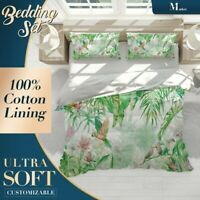Leaves Parrots Floral Green Quilt Cover Queen Size Single Double King