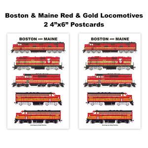 "Boston & Maine Red & Gold Locomotives 2 4""x6"" Postcards Andy Fletcher"