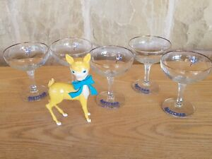 VINTAGE 5 BABYCHAM WHITE DEER DOUBLE LOGO GLASSES AND ORIGINAL BABYCHAM DEER