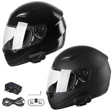 Motorcycle Helmet w/ Wireless Bluetooth Headset Full Face Motorbike Helmets DOT