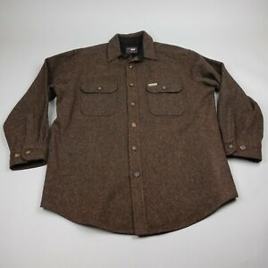 Vintage Woolrich Wool Blend Heavy Shirt Jacket Mens Large Button Brown