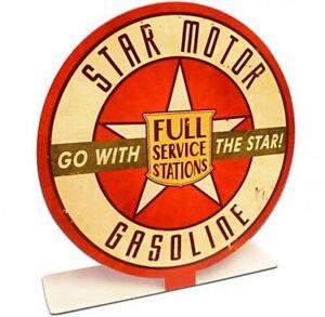 Star Motor Gasoline Table Topper Steel Sign 210mm diameter (pst)