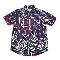 Aeropostale Men's Shirt Button-Down Short Sleeve Retro Blue & Pink Print Size S