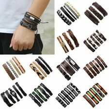 Vintage Leather Bracelets Set Men Punk Multilayer Braided Wristband Bangle Gift