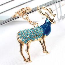 Zodiac Goat Sheep Lovely Pendant Bule Rhinestone Crystal Purse Bag Keyring Chain