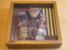 "Three Pre-columbian Chancay Dolls in Shadow Box 11x11x3"" Glass Ancient Textiles"