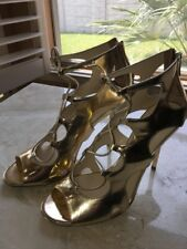 f9653464e93c Jimmy Choo Lang Gold Metallic Patent Leather Sttrapy Sandal Shoes Size US  9.5