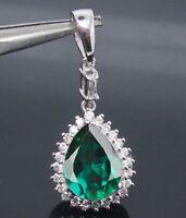 585er Weißgold 1,20Ct Natürlichen Grünen Smaragd EGL Certified Diamond Anhänger
