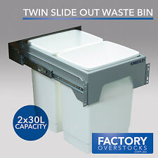 60L Slide Out Twin Door Mount Waste Bin - Pull Out Concealed Kitchen Dual Compar