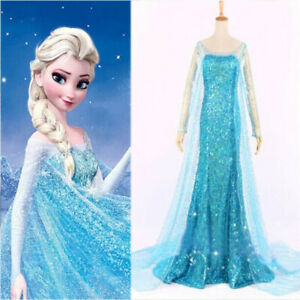 NEW Women Snow Grow Elsa Blue Dress Halloween Cosplay Princess Ice Queen Costume