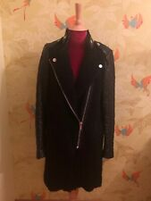 Zara Black Boucle Coat, Quilted Leather Sleeves, Biker Style, Sold Out, Size S