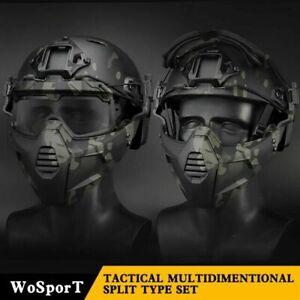 Tactical Split Type Anti Fog Wind Helmet Rail Mount Half Face Mask Goggles Set