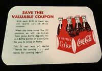 Vintage FREE 6 Pack of Coca Cola Promotional Card