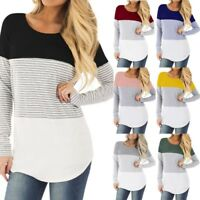 New Women Mom Pregnant Nursing Baby Maternity Top Long Sleeved Striped Blouse