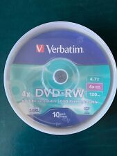6 x VERBATIM DVD-RW 4.7GB 4X, MATTE SILVER CAKEBOX from original pack of 10