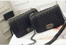 NEW Women Quilted PU Leather Shoulder Messenger Chain handbag black fashion Bag