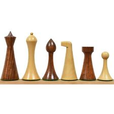 """3.6"""" Herman Ohme Minimalist Chess Pieces Only set- Weighted Golden Rosewood"""
