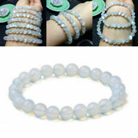 8mm Round Crystal Moonstone Natural Stone Stretched Beaded Bracelet Gift Q4 E3W6