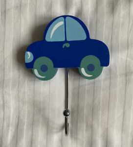 Wooden Car Hook Children's Room, Nursery Blue Great Condition