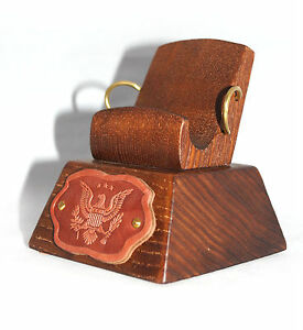 Hand Carved Universal wooden stand for mobile cellphone * American Eagle *