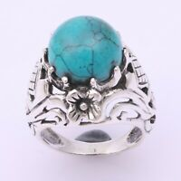 Turquoise Solitaire Ring Size 6 925 Solid Sterling Silver Handmade Jewelry