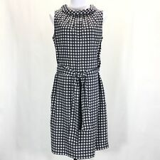 Talbots Audrey Collar Back Button Dress Womans 10 Sleeveless Belted Navy White