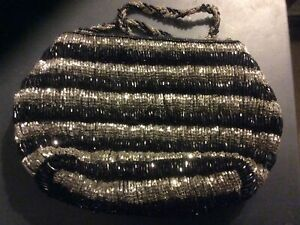 BLACK & SILVER BEADED EVENING BAG