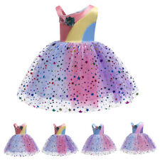 Flower Girl Dress Summer Rainbow Princess Pageant Wedding Birthday Tulle Dresses