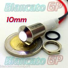 """SPIA LED BIANCO 12V DC METALLO """"TONDO"""" 10mm auto moto camper segnalatore lampada"""