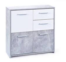 Commode moderne coloris gris blanc avec 3 portes 2 tiroirs